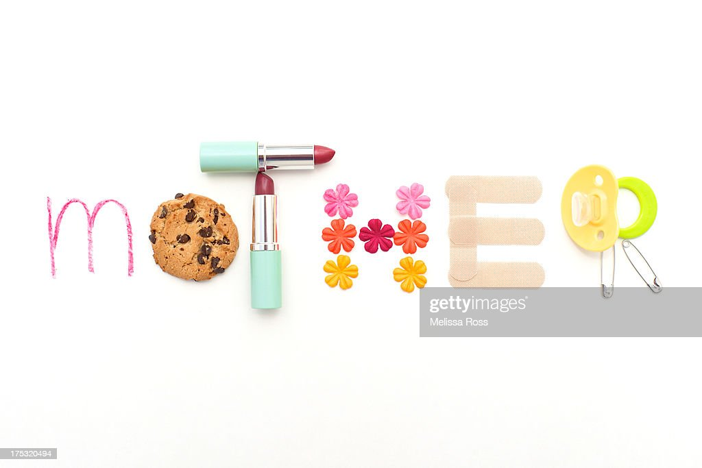 The word 'mother' formed with motherhood objects. : Stock Photo