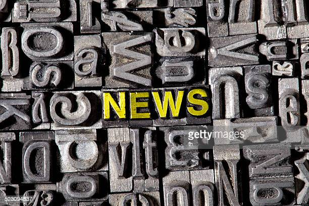 The word news, made of old lead type