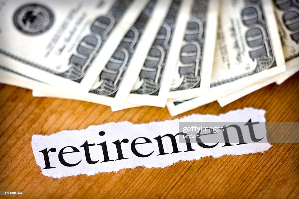 the word retirement with paper money stock photo getty images
