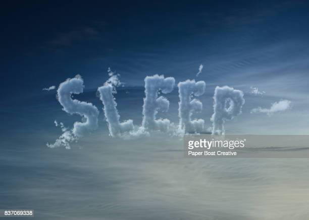 the word sleep built in a cloudy manner with a twilight sky background - typographies stock photos and pictures