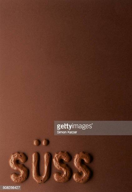 The word süss laid with chocolate letters