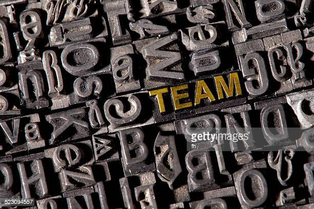 The word team, made of lead type