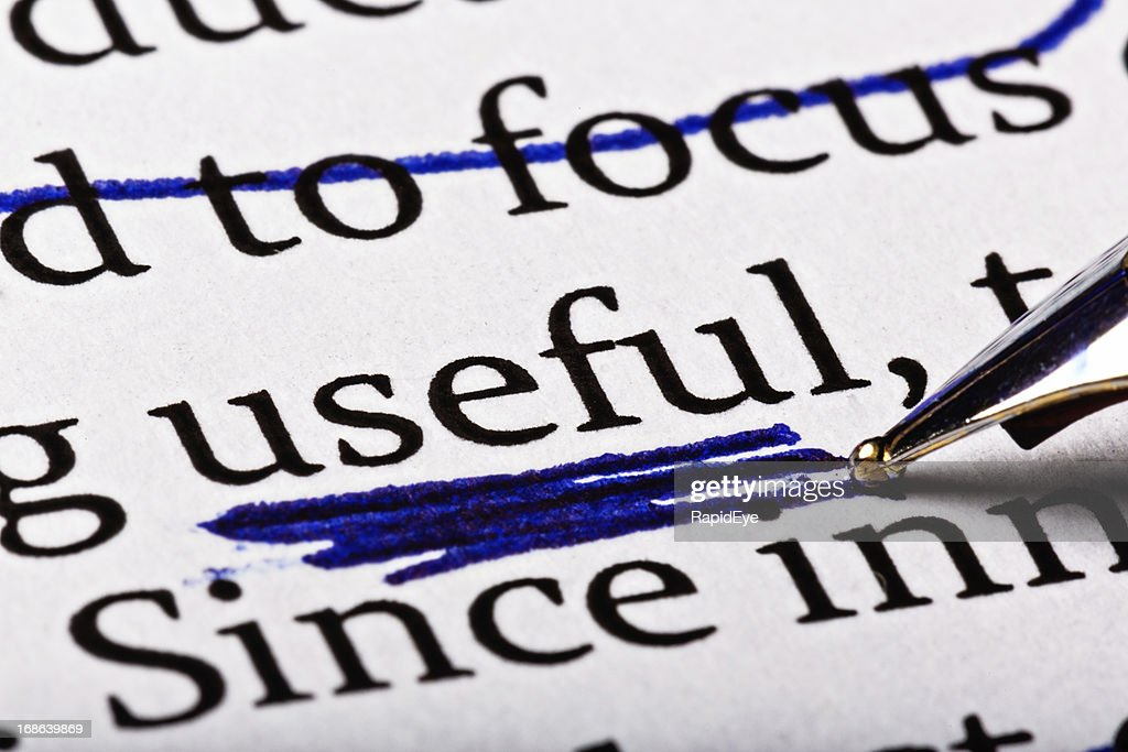 The word 'useful' heavily underscored in printed document : Stock Photo