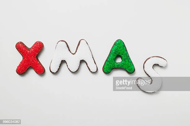 The word XMAS in iced chocolate letters
