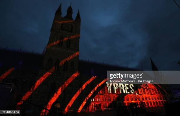 The word Ypres is projected onto the side of the Cloth Hall in the Market Square in Ypres Belgium during a dress rehearsal ahead of the...