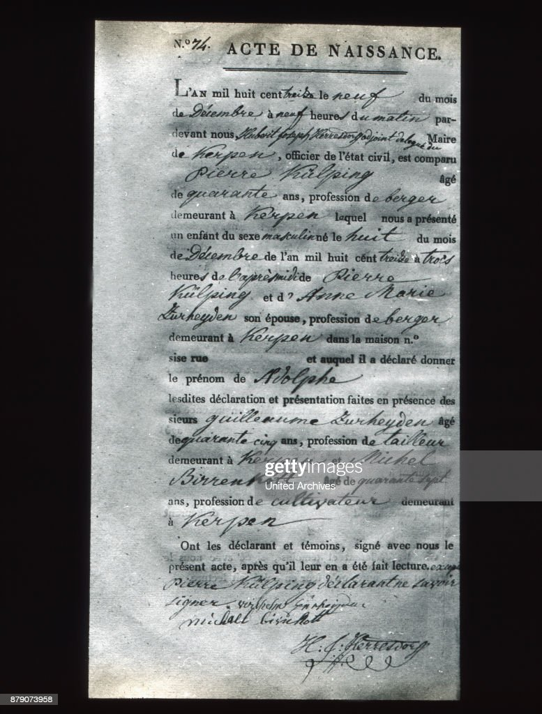 The worded in french birth certificate of adolph kolping pictures the worded in french birth certificate of adolph kolping is an interesting reminder of those eventful aiddatafo Image collections