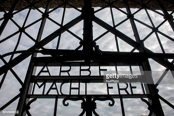 The words 'Arbeit macht frei' are seen on a door at the entrance to the former Dachau concentration camp in Dachau Germany on September 25 2015...
