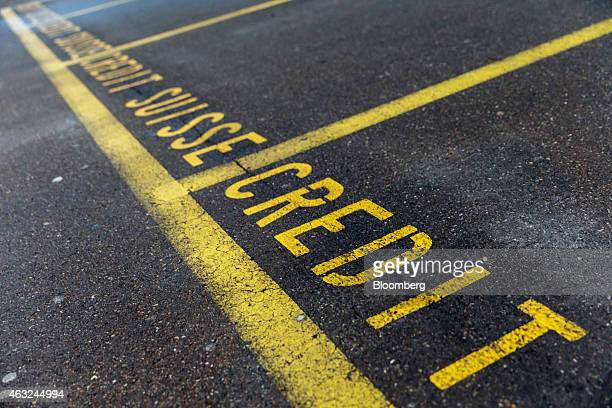 The words 'Credit Suisse' denote car parking spaces outside a Credit Suisse Group AG office in Zurich Switzerland on Thursday Feb 12 2015 Credit...