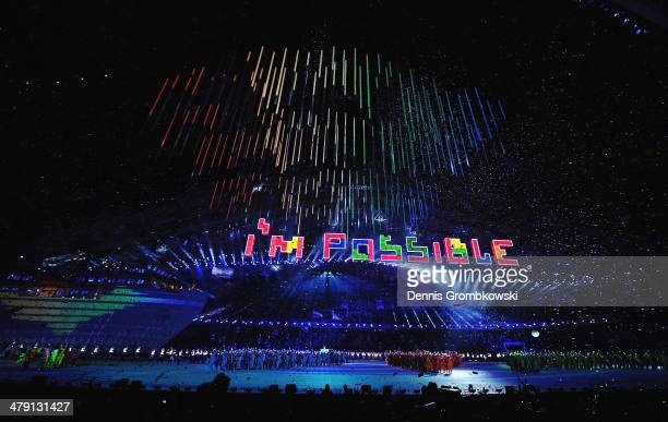 The words 'I'm Possible' are spelt using Tetris tiles during the Sochi 2014 Paralympic Winter Games Closing Ceremony at Fisht Olympic Stadium on...