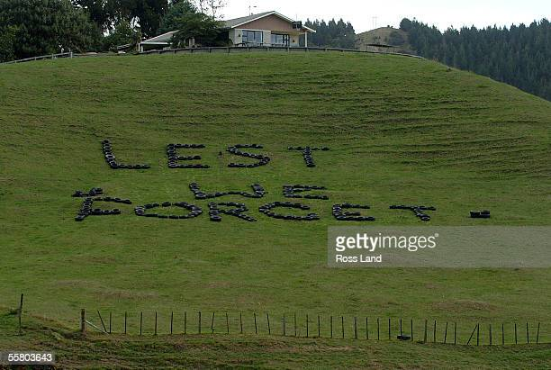 The words Lest we forget formed from old vehicle tyres arranged in a farmers paddock on the road Hamilton to Raglan as a mark of repect and a...