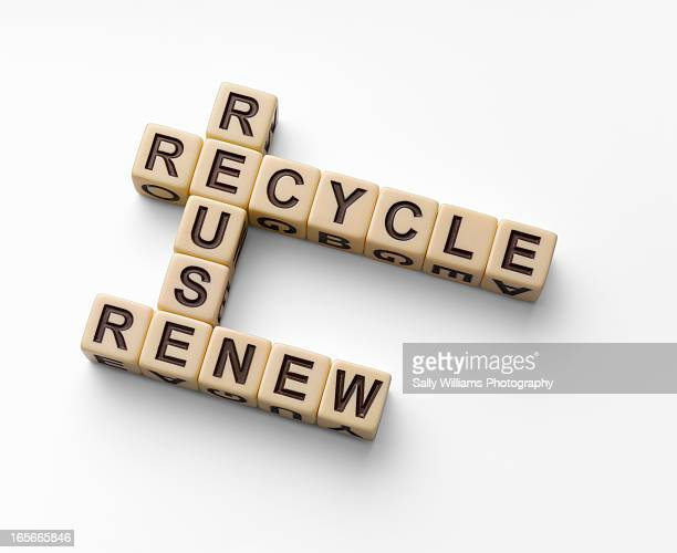The words recycle, reuse and renew