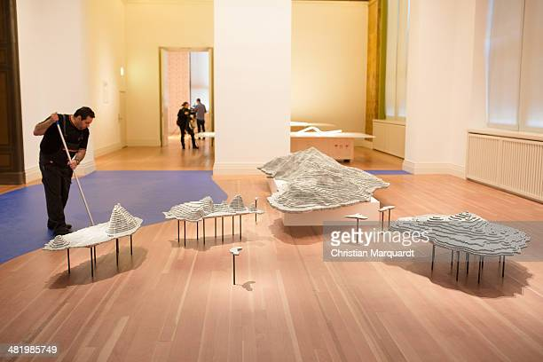The work 'Diaoyu Islands' is pictured at the press preview for Chinese artist Ai Weiwei's 'Evidence' exhibition at Martin Gropius Bau on April 2 2014...