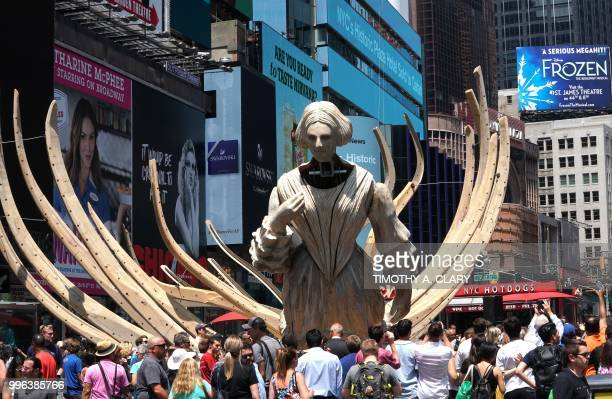 The work of artist Mel Chin 'Wake' and 'Unmoored is unveiled on Times Square July 11 2018 in New York part of the mixed reality piece developed with...