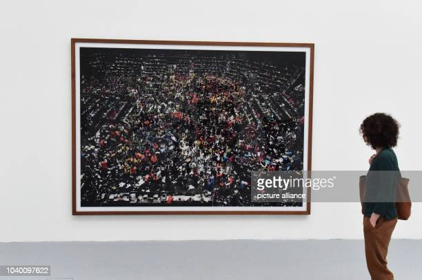 The work 'Tokio Boerse' by photographer Andreas Gursky is seen at the Biennale contemporary art exhibition in Venice Italy 10 May 2015 The 56th...