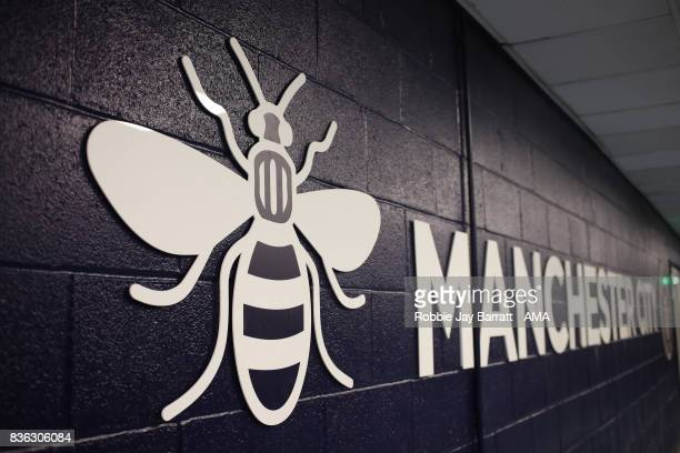 The Worker Bee iconic symbol of Manchester on signage around the stadium prior to the Premier League match between Manchester City and Everton at...