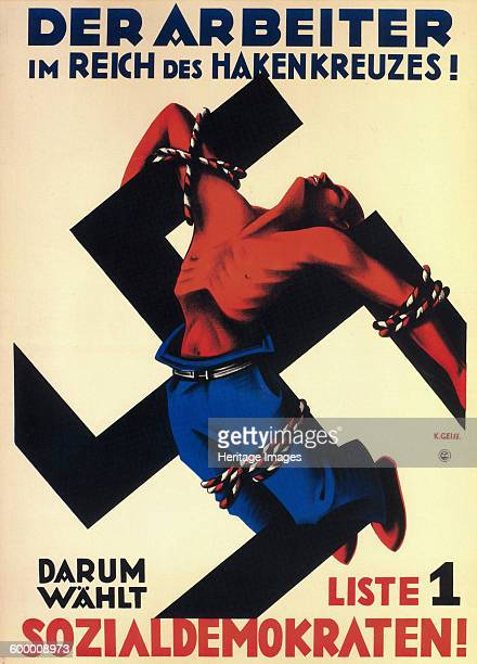 The worker under the swastika state Therefore choose list 1 the Social Democrats 1932 Private Collection Artist Geiss Karl
