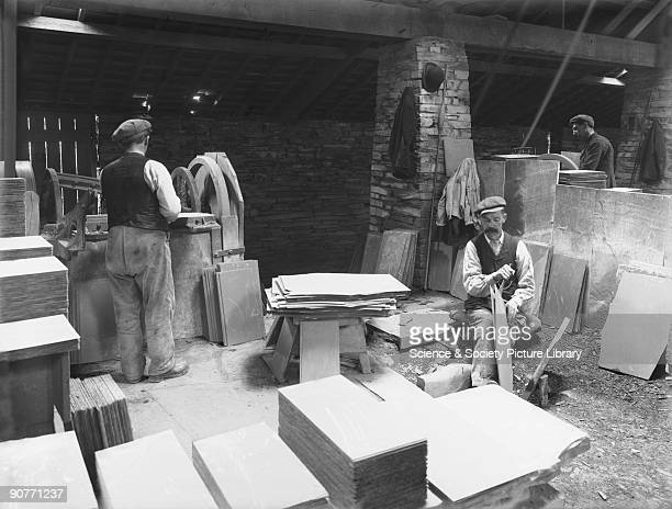 The workers are cutting and smoothing the slate ready for sale The railway at Blaenau Ffestiniog opened in 1836 to carry slate to the port of...
