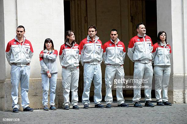 The workers of the Fiat Chrysler Automobiles Cassino where it is produced the Giulia attend the unveiling of Italian car manufacturer Alfa Romeo's...