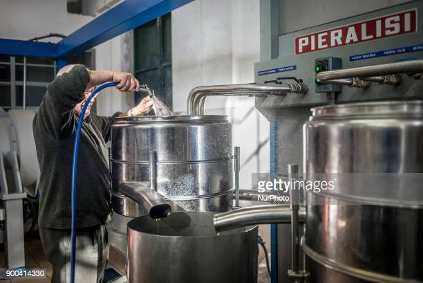 The working process at extra virgin olive oil factory near Saranda Albania on December 31 2017