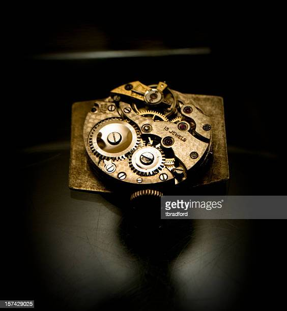 the workings of a mechanical watch - instrument of time stock photos and pictures