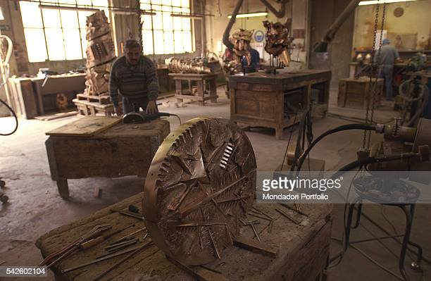 The workshop of Battaglia artistic foundry in Milan This is the foundry where the works by Italian sculptor Arnaldo Pomodoro are made Milan 19th June...