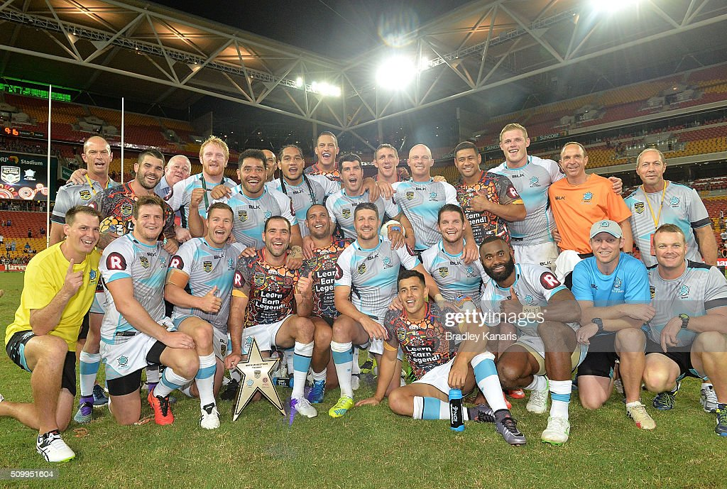 The World All Stars team celebrate their victory after the NRL match between the Indigenous All-Stars and the World All-Stars at Suncorp Stadium on February 13, 2016 in Brisbane, Australia.