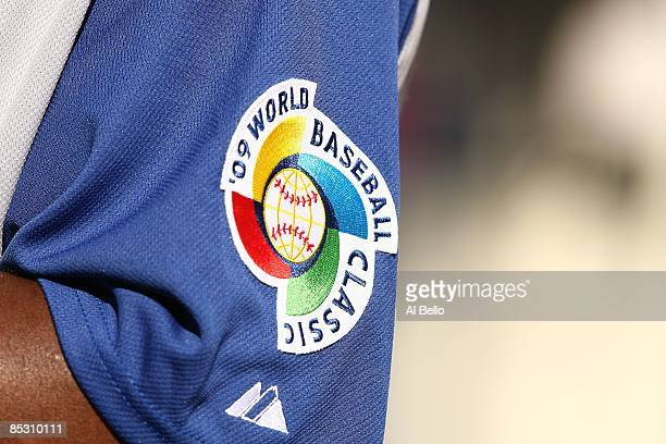 The World Baseball Classic Logo is displayed on the arm of a player from The Dominican Republic during the 2009 World Baseball Classic Pool D match...