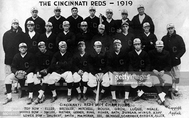 The World Champion Cincinnati Reds pose for a team portrait in the Palace of the Fans, Cincinnati, Ohio, 1919.