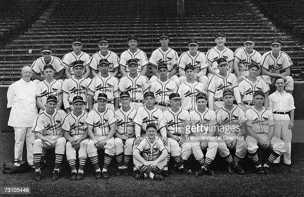 The World Champion St Louis Cardinals of the National League pose for their team portrait for the season 1942 Hall of Fame members on the team are...
