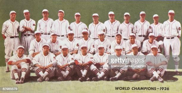 ST LOUIS 1926 The World Champion St Louis Cardinals team is presented in color in this print from Cardinals score card Grover Cleveland Alexander is...