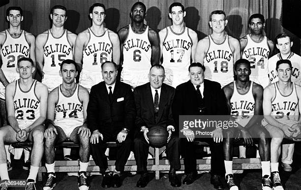 The World Champions of basketball the Boston Celtics pose in 1960 for a team portrait starting with seated Frank Ramsey Bob Cousey coach Red Auerbach...