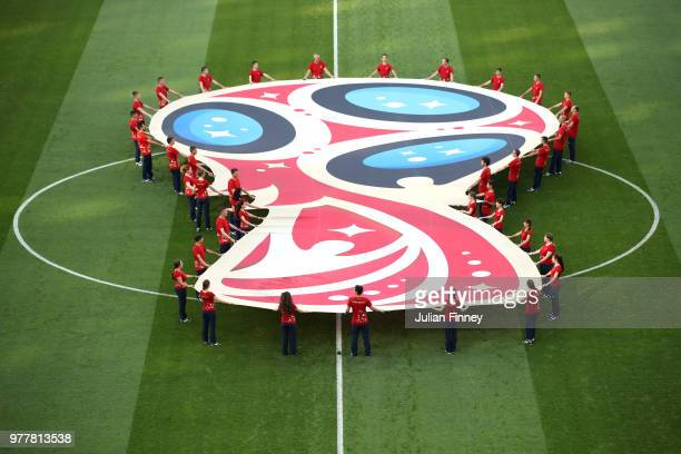 The World Cup 2018 logo is seen on the pitch prior to the 2018 FIFA World Cup Russia group G match between Belgium and Panama at Fisht Stadium on...