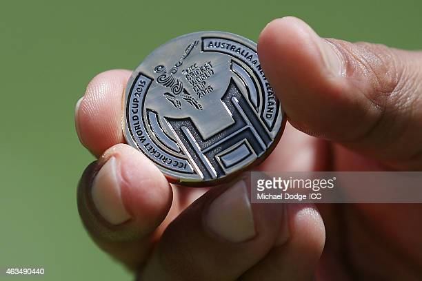 The World Cup coin is seen during the 2015 ICC Cricket World Cup match between India and Pakistan at Adelaide Oval on February 15 2015 in Adelaide...