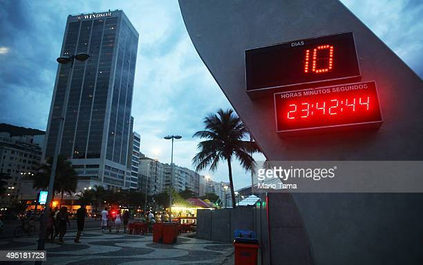 The World Cup countdown clock is lit along on Copacabana Beach on June 1 2014 in Rio de Janeiro Brazil Brazil has won five World Cups more than any...