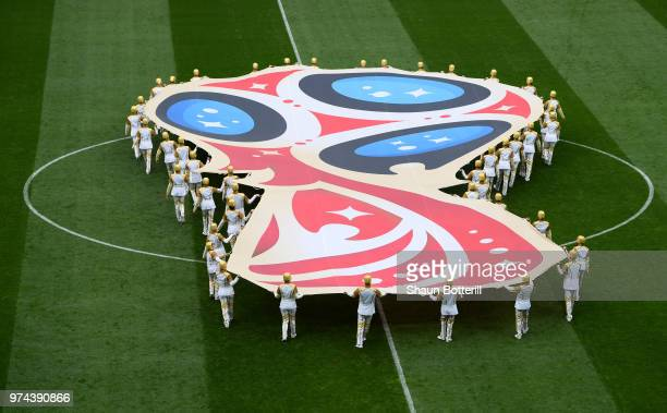 The World Cup Logo is displayed on the pitch prior to the 2018 FIFA World Cup Russia Group A match between Russia and Saudi Arabia at Luzhniki...