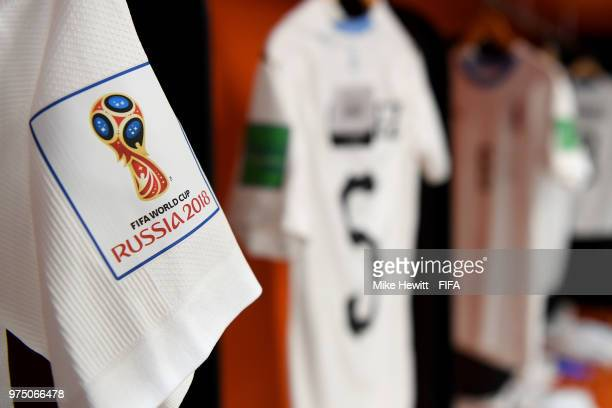 The World Cup logo is seen in the Uruguay dressing room the prior to the 2018 FIFA World Cup Russia group A match between Egypt and Uruguay at...