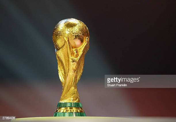 The World Cup Trophy during the 2006 FIFA World Cup Qualifying Group Draw at the Messe Frankfurt on December 5, 2003 in Franfurt, Germany.
