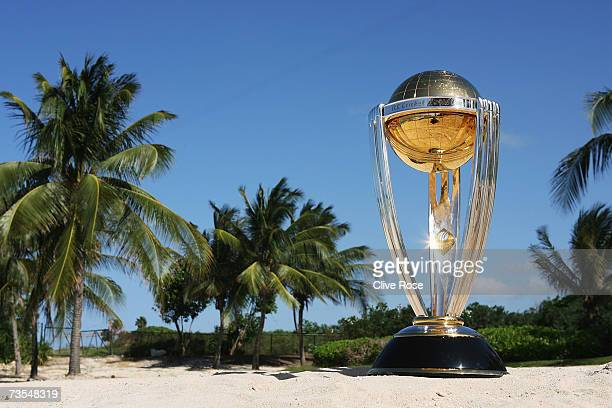 The World Cup trophy is displayed at the ICC Cricket World Cup 2007 press conference at the Ritz Carlton Hotel on March 11 2007 in Montego Bay Jamaica