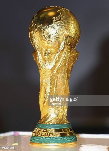 The World Cup Trophy is pictured at a photocall during the FIFA Delegation World Cup Trophy tour on November 22 2005 in Cape Town South Africa The...