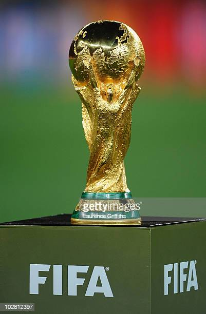 The World Cup trophy is presented prior to the 2010 FIFA World Cup South Africa Final match between Netherlands and Spain at Soccer City Stadium on...