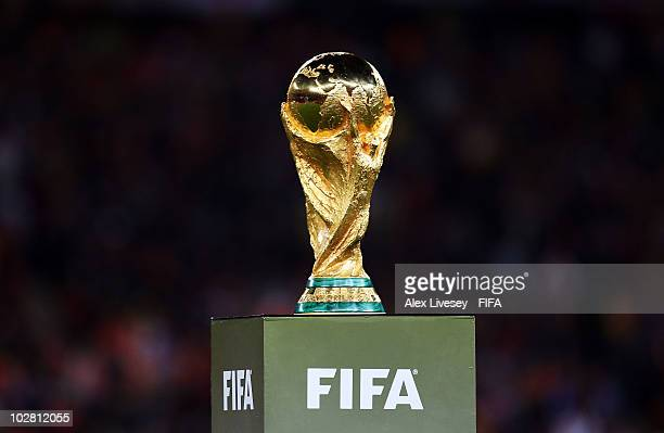 The World Cup trophy is seen before the 2010 FIFA World Cup South Africa Final match between Netherlands and Spain at Soccer City Stadium on July 11,...