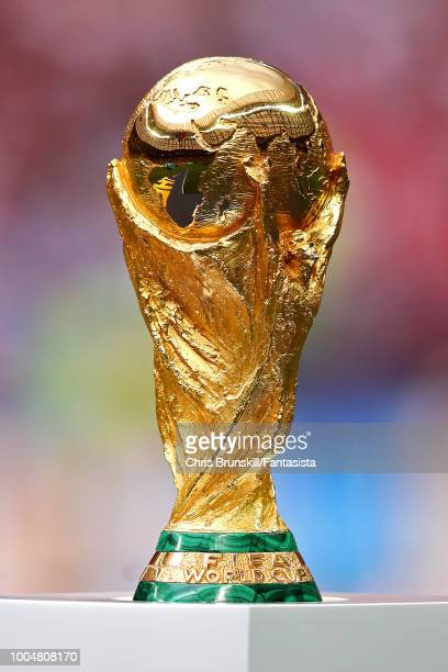 The World Cup trophy is seen before the 2018 FIFA World Cup Russia Final between France and Croatia at Luzhniki Stadium on July 15, 2018 in Moscow,...