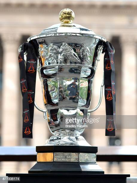 The World Cup trophy is seen during a Rugby League World Cup Civic Reception at King George Square on November 22, 2017 in Brisbane, Australia.