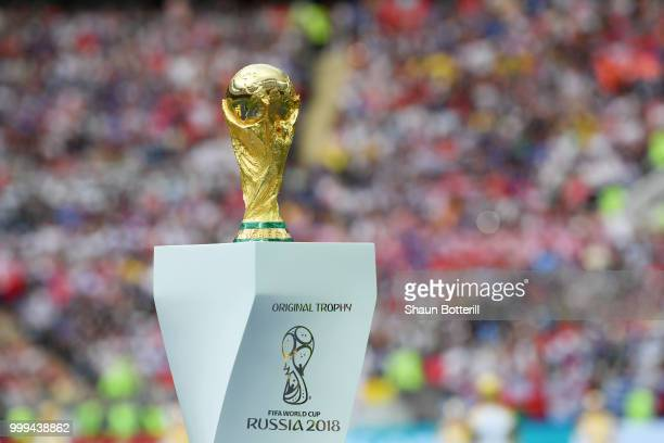The World Cup trophy is seen during closing ceremony prior to the 2018 FIFA World Cup Final between France and Croatia at Luzhniki Stadium on July 15...