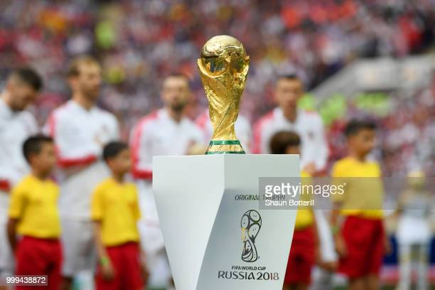 The World Cup trophy is seen during closing ceremony prior to the 2018 FIFA World Cup Final between France and Croatia at Luzhniki Stadium on July...