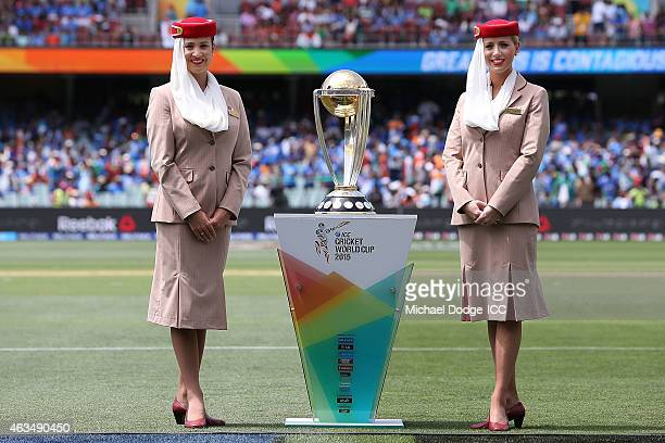 The World Cup Trophy is seen during the 2015 ICC Cricket World Cup match between India and Pakistan at Adelaide Oval on February 15 2015 in Adelaide...