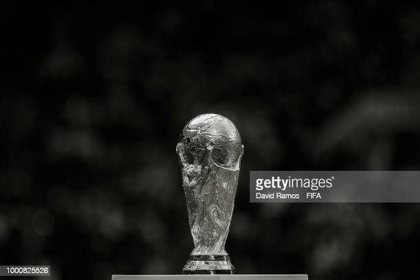 The World Cup Trophy is seen during the 2018 FIFA World Cup Russia Final between France and Croatia at Luzhniki Stadium on July 15 2018 in Moscow...