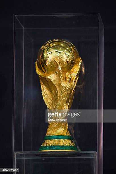 The World Cup trophy is seen on display during a FIFA World Cup Trophy Tour event, at the U.S. State Department, April 14, 2014 in Washington, DC....