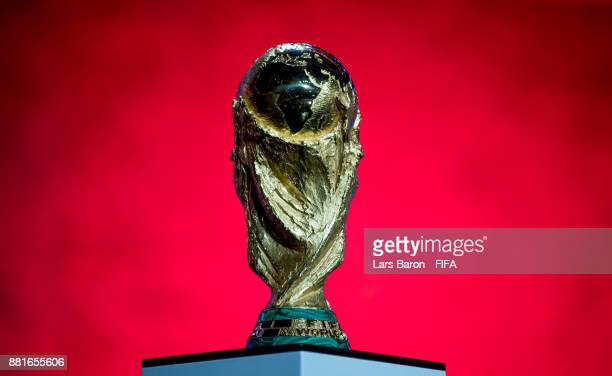 The World Cup trophy is seen on stage during the Behind the Scenes of the Final Draw for the 2018 FIFA World Cup at the Draw hall on November 29,...