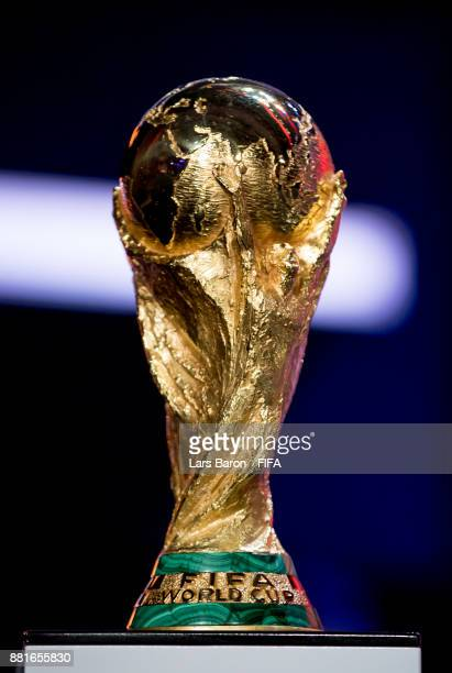 The World Cup trophy is seen on stage during the Behind the Scenes of the Final Draw for the 2018 FIFA World Cup at the Draw hall on November 29 2017...